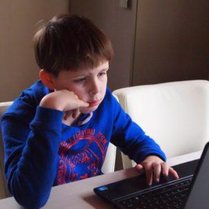 enfant, garçon, internet, ordinateur portable, technologie, salle, assis